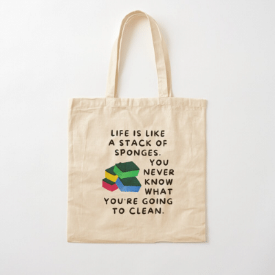 Stack Of Sponges Savvy Cleaner Funny Cleaning Gifts Cotton Tote Bag