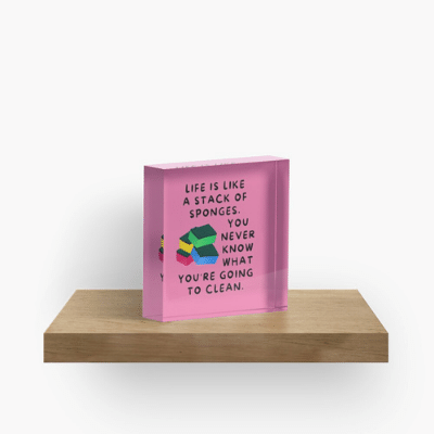 Stack Of Sponges Savvy Cleaner Funny Cleaning Gifts Crazy Cube