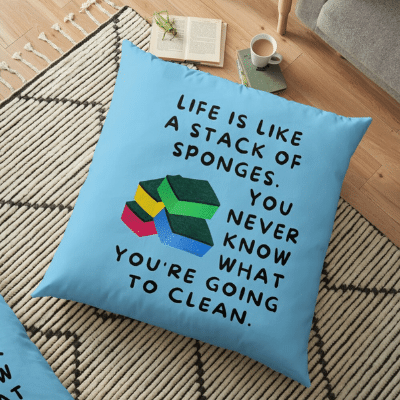 Stack Of Sponges Savvy Cleaner Funny Cleaning Gifts Floor Pillow