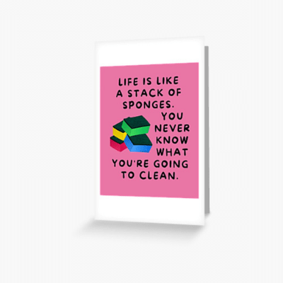 Stack Of Sponges Savvy Cleaner Funny Cleaning Gifts Greeting Card