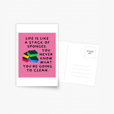 Stack Of Sponges Savvy Cleaner Funny Cleaning Gifts Postcard