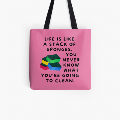 Stack Of Sponges Savvy Cleaner Funny Cleaning Gifts Tote Bag