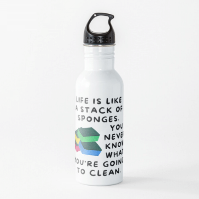 Stack Of Sponges Savvy Cleaner Funny Cleaning Gifts Water Bottle