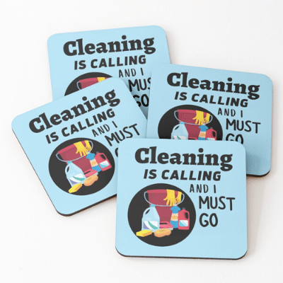 Cleaning is Calling Savvy Cleaner Funny Cleaning Gifts Coasters