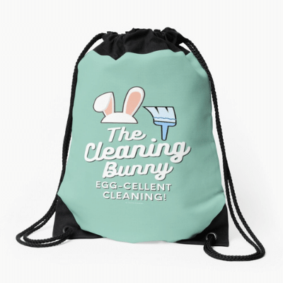 Cleaning Bunny Savvy Cleaner Funny Cleaning Gifts Drawstring Bag