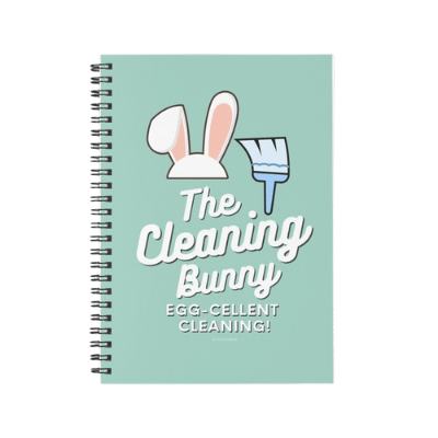 Cleaning Bunny Savvy Cleaner Funny Cleaning Gifts Spiral Notebook