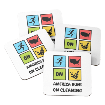 America Runs on Cleaning Savvy Cleaner Funny Cleaning Gifts Coasters