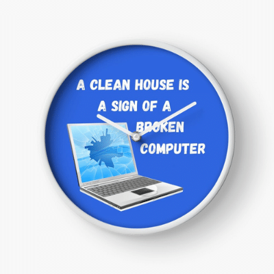 Broken Computer Savvy Cleaner Funny Cleaning Gifts Clock
