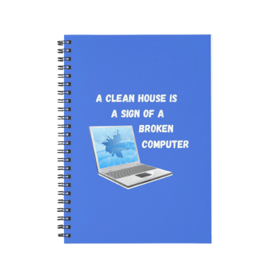 Broken Computer Savvy Cleaner Funny Cleaning Gifts Spiral Notebook