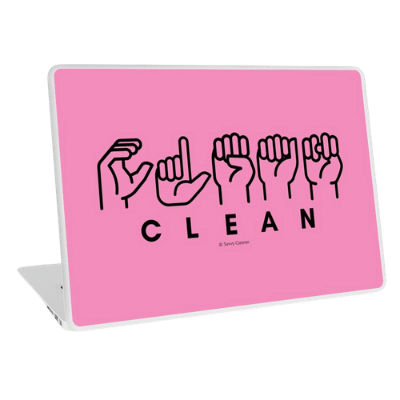 Clean Sign Language Savvy Cleaner Funny Cleaning Gifts Laptop Skin
