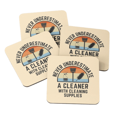 Cleaner With Cleaning Supplies Savvy Cleaner Funny Cleaning Gifts Coasters