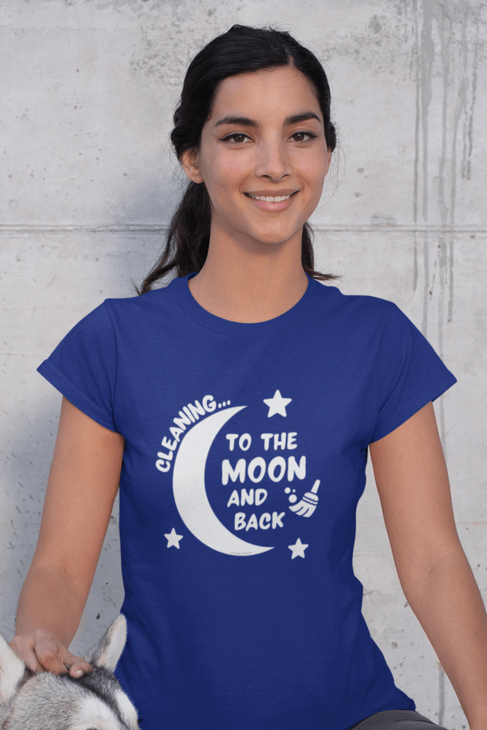 Cleaning to the Moon Savvy Cleaner Funny Cleaning Shirts Women's Standard Tee