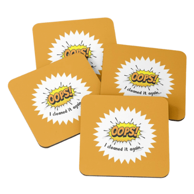 Oops I Cleaned It Again Savvy Cleaner Funny Cleaning Gifts Coasters