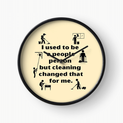 People Person Savvy Cleaner Funny Cleaning Gifts Clock