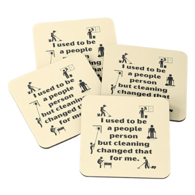 People Person Savvy Cleaner Funny Cleaning Gifts Coasters