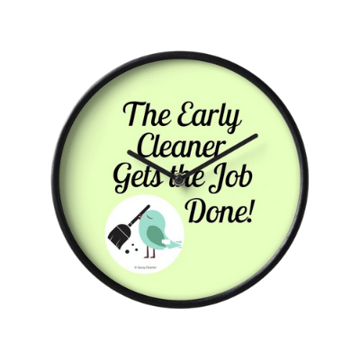 The Early Cleaner Savvy Cleaner Funny Cleaning Gifts Clock
