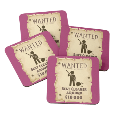Wanted Poster Savvy Cleaner Funny Cleaning Gifts Coasters