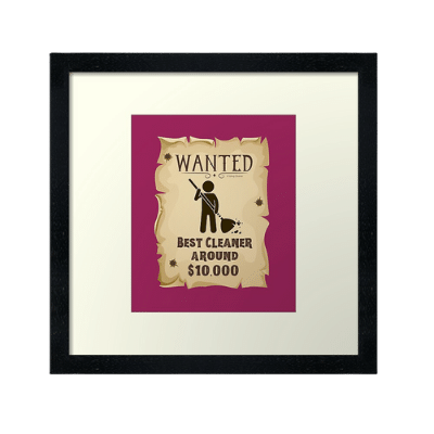 Wanted Poster Savvy Cleaner Funny Cleaning Gifts Framed Art Print