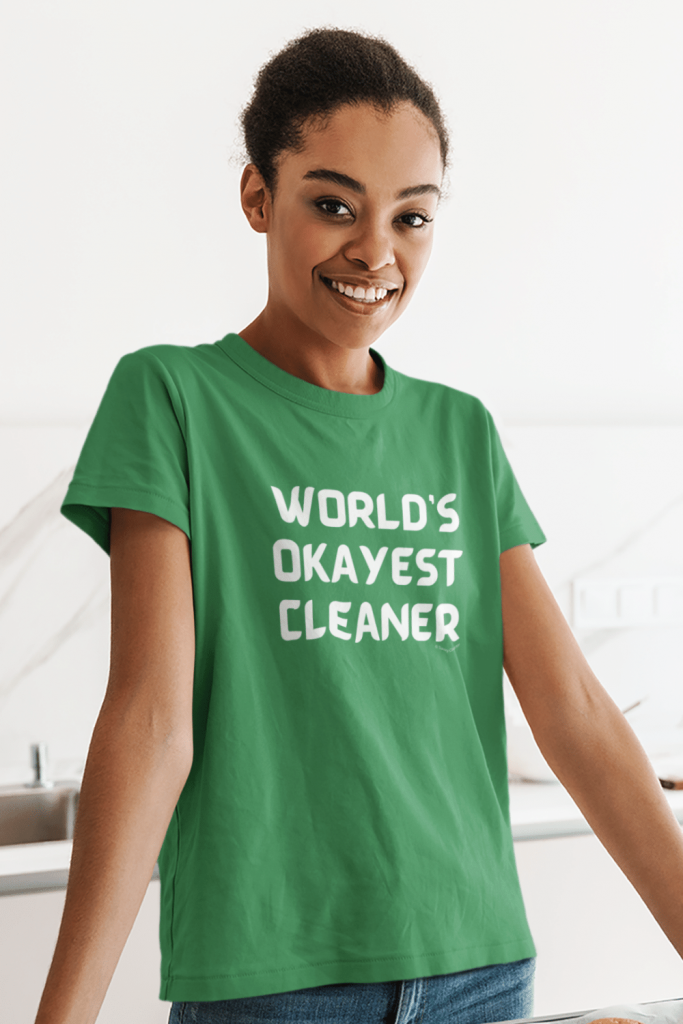 Worlds Okayest Cleaner Savvy Cleaner Funny Cleaning Shirts Women's Standard Tee