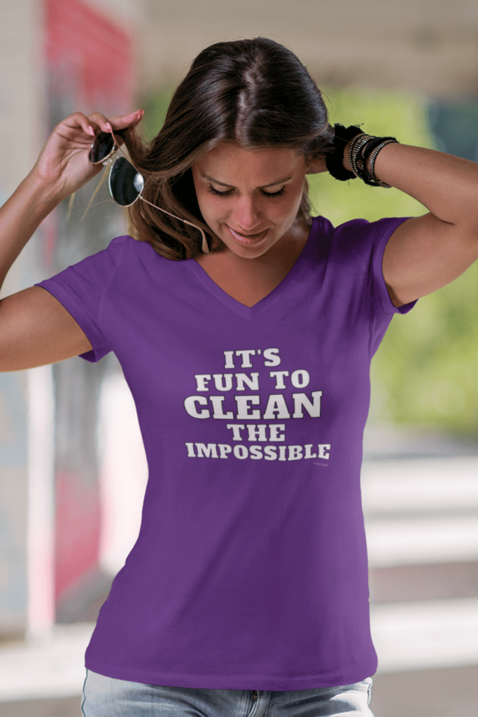Clean The Impossible Savvy Cleaner Funny Cleaning Shirts Women's Premium V-Neck Tee