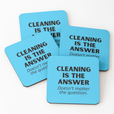 Cleaning is The Answer Savvy Cleaner Funny Cleaning Gifts Coasters