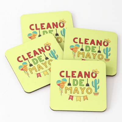 Cleano De Mayo Savvy Cleaner Funny Cleaning Shirts Coasters