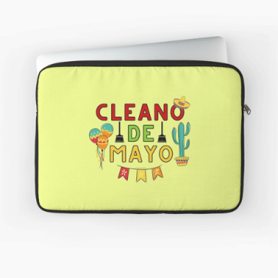 Cleano De Mayo Savvy Cleaner Funny Cleaning Shirts Computer Pouch