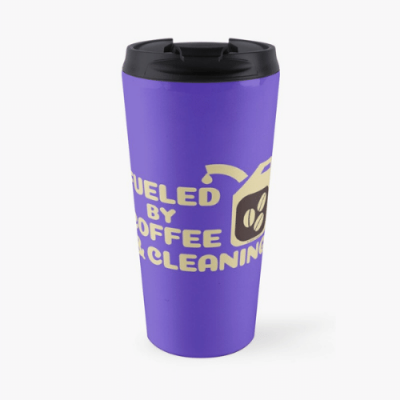 Fueled by Coffee Savvy Cleaner Funny Cleaning Gifts Travel Mug