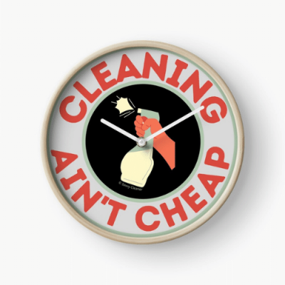 Retro Cleaning Ain't Cheap Savvy Cleaner Funny Cleaning Gifts Clock