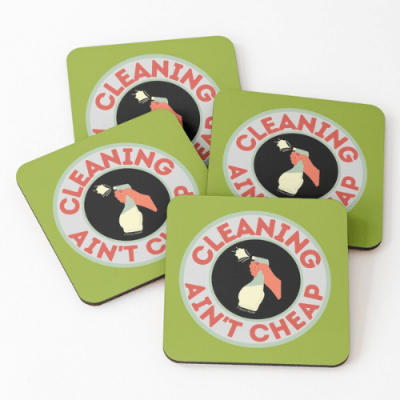 Retro Cleaning Ain't Cheap Savvy Cleaner Funny Cleaning Gifts Coasters