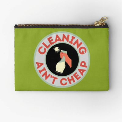 Retro Cleaning Ain't Cheap Savvy Cleaner Funny Cleaning Gifts Zipper Pouch
