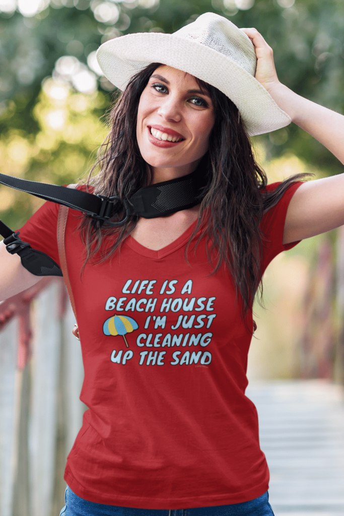 Beach House Savvy Cleaner Funny Cleaning Shirts Women's Premium V-Neck Tee