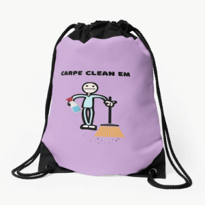 Carpe Clean Em Savvy Cleaner Funny Cleaning Gifts Drawstring Bag