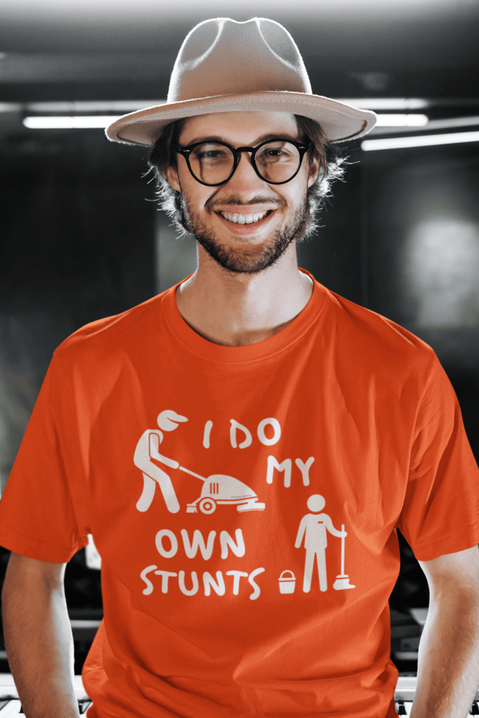 I Do My Own Stunts Savvy Cleaner Funny Cleaning Shirts Men's Standard Tee