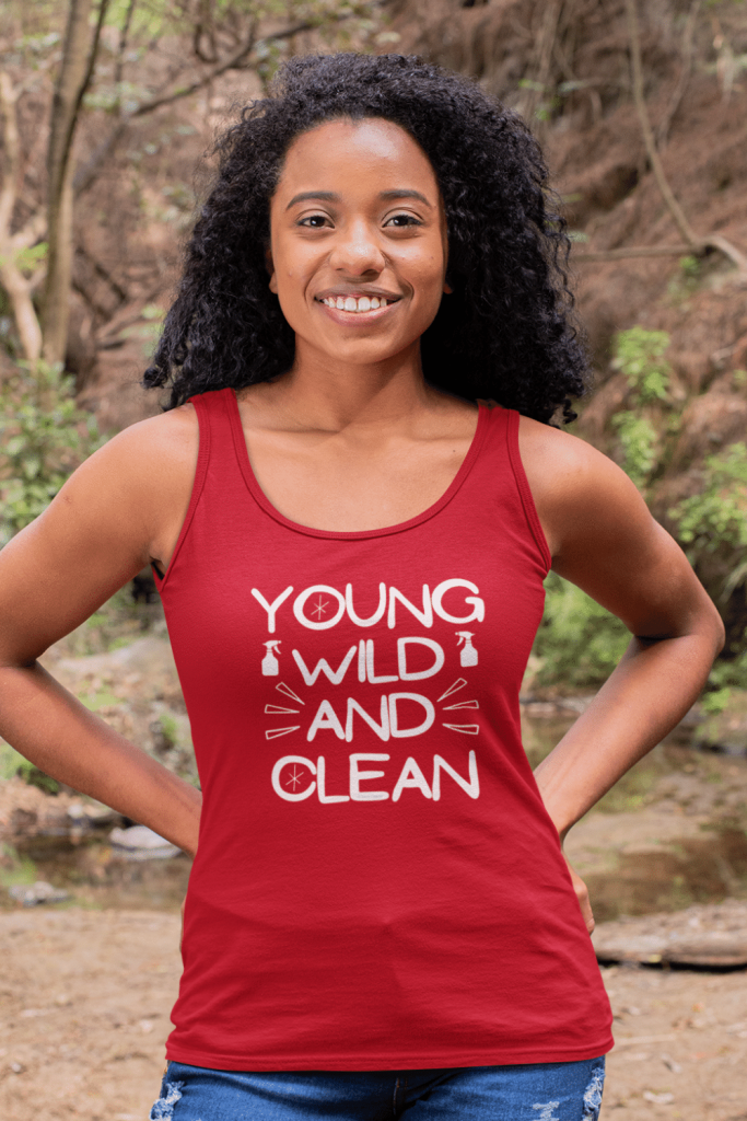 Young Wild and Clean Savvy Cleaner Funny Cleaning Shirts Classic Tank Top