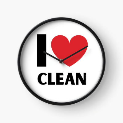 I Love Clean Savvy Cleaner Funny Cleaning Gifts Clock