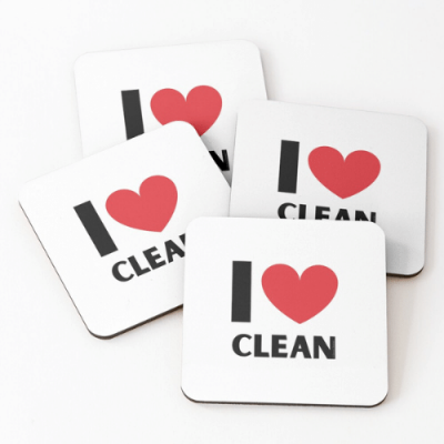 I Love Clean Savvy Cleaner Funny Cleaning Gifts Coasters