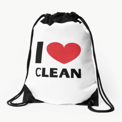I Love Clean Savvy Cleaner Funny Cleaning Gifts Drawstring Bag
