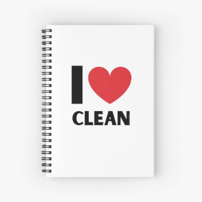 I Love Clean Savvy Cleaner Funny Cleaning Gifts Spiral Notebook