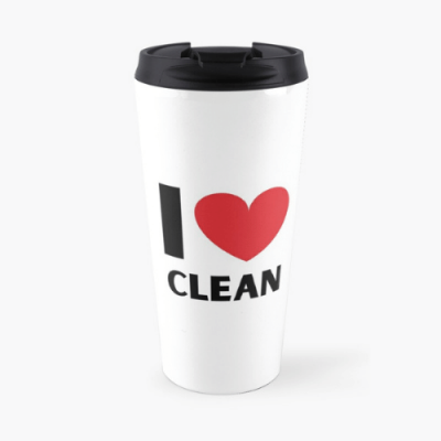 I Love Clean Savvy Cleaner Funny Cleaning Gifts Travel Mug