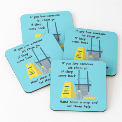 Let Them Go Savvy Cleaner Funny Cleaning Gifts Coasters