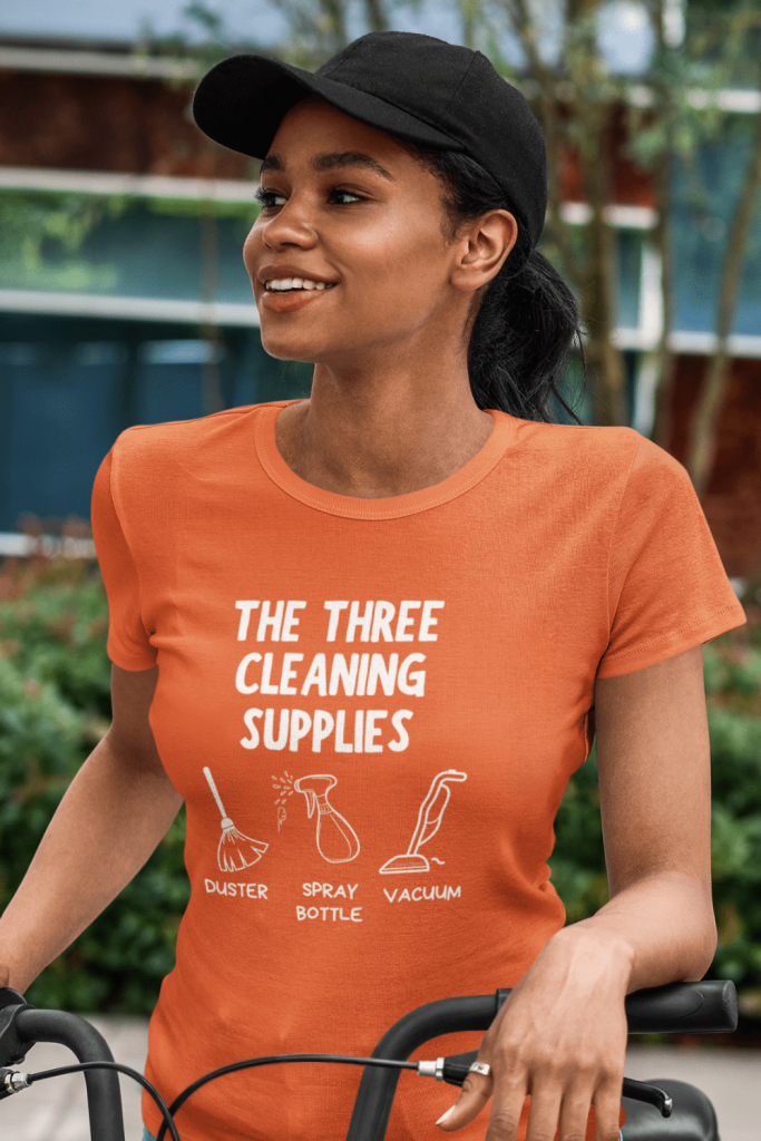 Three Cleaning Supplies Savvy Cleaner Funny Cleaning Shirts Women's Standard T-Shirt