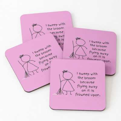 Frowned Upon Savvy Cleaner Funny Cleaning Gifts Coasters