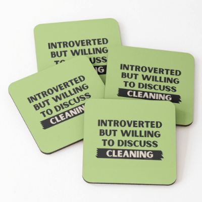 Introverted Savvy Cleaner Funny Cleaning Gifts Coasters