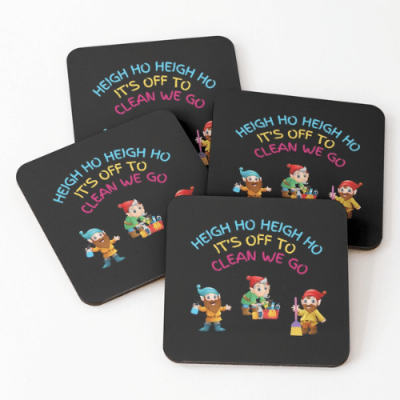 Off To Clean We Go Savvy Cleaner Funny Cleaning Gifts Coasters