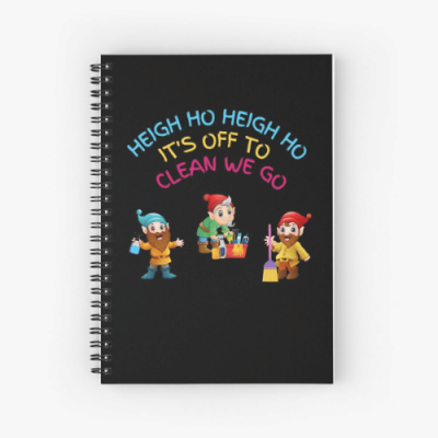 Off To Clean We Go Savvy Cleaner Funny Cleaning Gifts Spiral Notebook