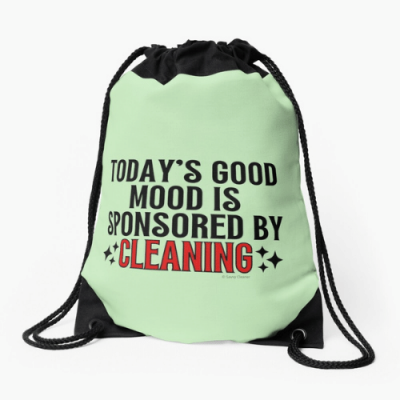 Sponsored by Cleaning Savvy Cleaner Funny Cleaning Gifts Drawstring Bag