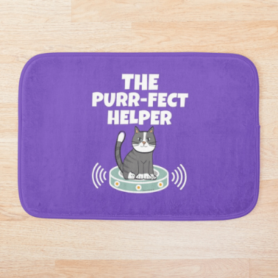 Purr-fect Helper Savvy Cleaner Funny Cleaning Gifts Bath Mat