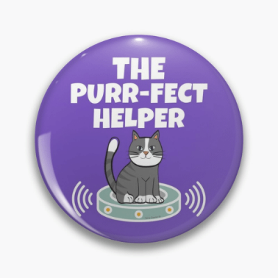 Purr-fect Helper Savvy Cleaner Funny Cleaning Gifts Pin