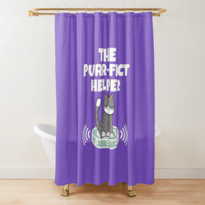 Purr-fect Helper Savvy Cleaner Funny Cleaning Gifts Shower Curtain